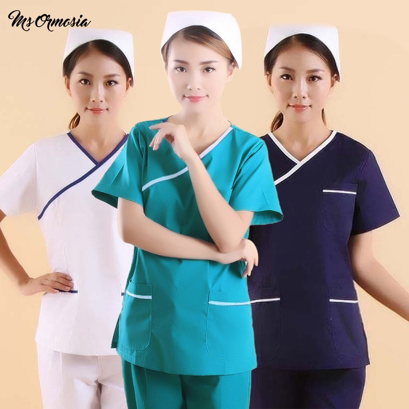 Women Fashion Scrubs Tops V-Neck Short Sleeves Shirt With Two Large Pockets Beauty And Health Workwear SPA Nursing Uniform New