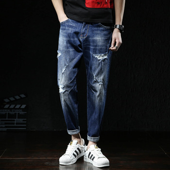 New Skinny Jeans men Streetwear Destroyed Ripped Homme Hip Hop Broken modis male Pencil Biker Embroidery Patch Pants