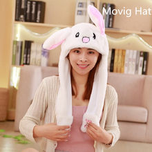 free ship 2018 Fashion Moving Hat Rabbit Ears Plush Sweet Cute Airbag Cap 18 color can be choose Polyester(China)