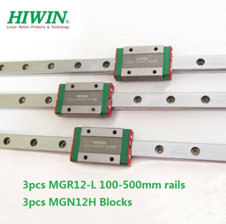 3pcs Original Hiwin rail MGN12-L 100/200/250/300/330/350/ 400/450/500mm + 3pcs MGN12H blokken voor CNC