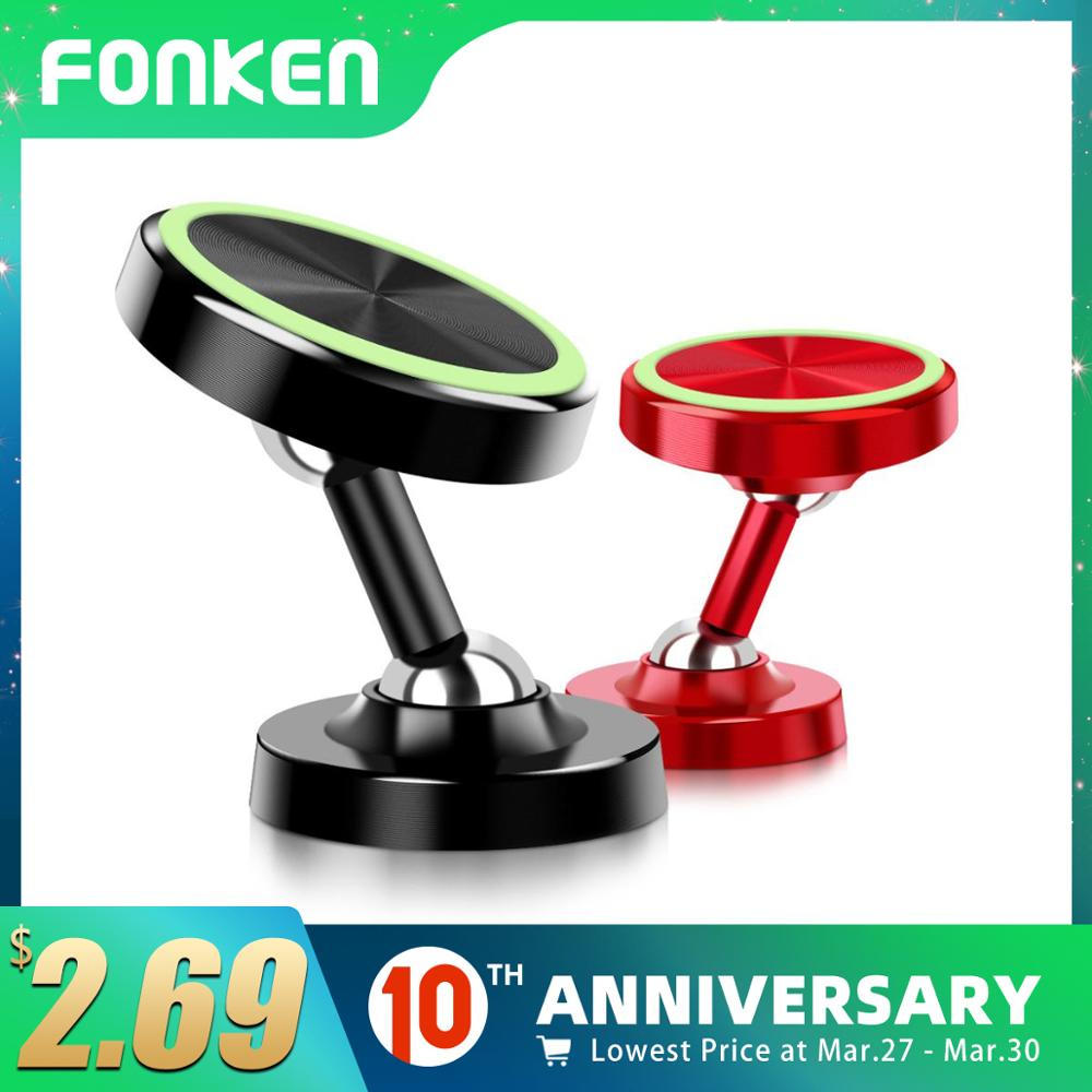 FONKEN Magnetic Car Phone Holder For Phone Car Mount Magnet Two Way Rotation Luminous Stand Desk Wall Mobile Mini Holders