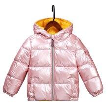 Inverno meninos meninas casual brilhante para baixo jaqueta impermeável e quente grosso algodão zíper com capuz para crianças jaqueta