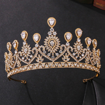Barokowy Vintage złoty kryształowy paw tiary ślubne CZ korony Rhinestone korowód Diadem opaski panny młodej ślubne akcesoria do włosów tanie i dobre opinie George Black Ze stopu cynku moda KRYSZTAŁ Tiaras Kobiety TRENDY HG001 PLANT Baroque Luxury Crystal AB Bridal Crown Tiaras