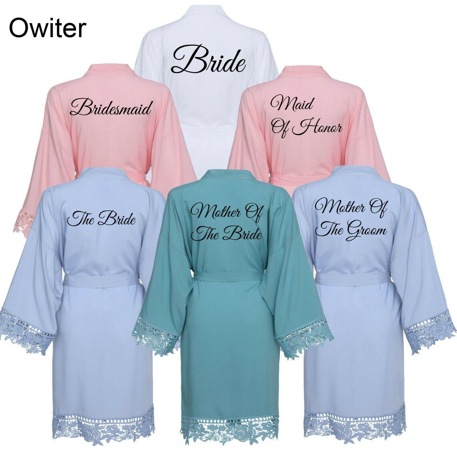 Rayon Women Cotton Lace Robes Gown Wedding Bride Bridesmaid Bridal Robe Bathrobe