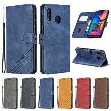 Do Samsung Galaxy A40 etui skórzane etui z klapką etui na telefony komórkowe Samsung A40 etui na telefon Galaxy A40 40 A405F Funda magnetyczny portfel pokrywa