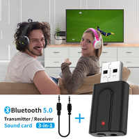 2 In 1 Bluetooth 5.0 TV Transmitter Receiver Wireless Audio Music Adapter Dongle for TV PC Speaker Headphone Car Transmitter