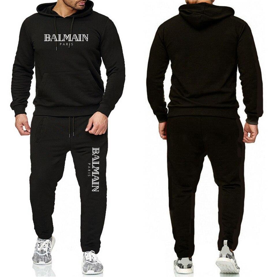 Balmai Ouma Sports Set Printed Letter Men Stripes Hoodie + Athletic Pants Fitness Suit