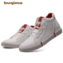 Buqima New Mens Leisure Leather Shoes Fashion High-Upper Board Autumn and Winter Plush Flat-soled for Men