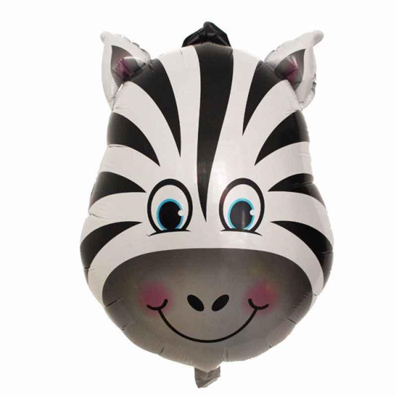 1 adet Jungle hayvan kaplan aslan maymun Zebra zürafa inek hava helyum balon çocuklar Safari doğum günü partisi dekor hayvanat bahçesi tema malzemeleri
