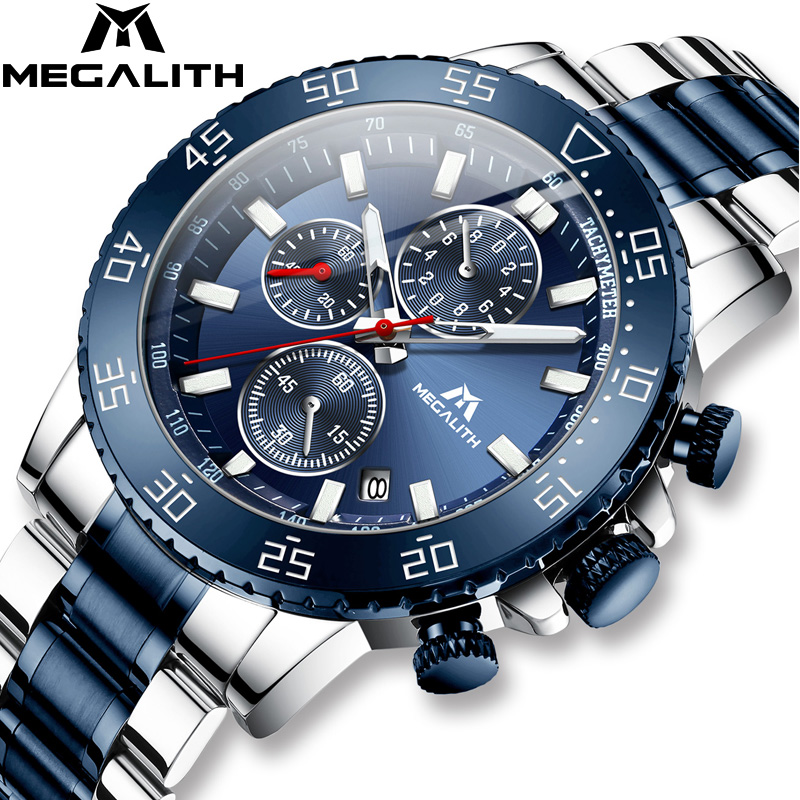 MEGALITH Analogue Clock Luminous-Watch Stainless-Steel Sports Waterproof Mens with Box