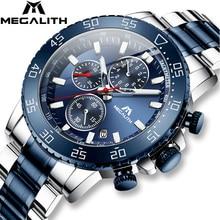 MEGALITH שעונים Mens עמיד למים שעון אנלוגי נירוסטה עמיד למים זוהר שעון גברים ספורט Relogio Masculino עם תיבה