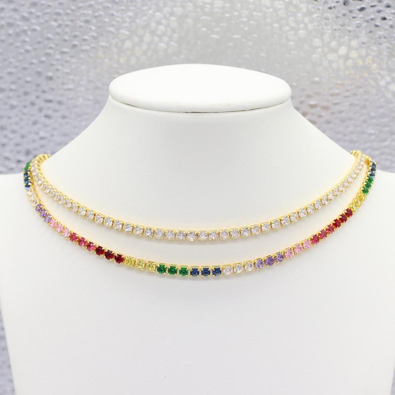 18k Real Gold Good Quality Rainbow Necklace Shining Bling AAA Zircon Women CZ Chain Elegant Charm Wedding Choker Jewelry