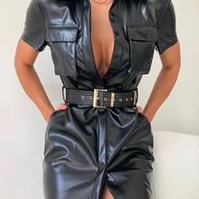 Hot Sales Dress Solid Color Turn-down Collar Pocket Design P