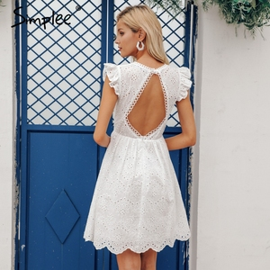 Image 4 - Simplee Sexy white women summer dress 2019 Backless v neck ruffle cotton lace dress Vintage holiday beach short female vestidos