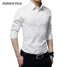Puimentiua 2019 męskie koszule w szkocką kratę Fitness ubranie koszule jednolita moda społeczne koszule na co dzień dla mężczyzn elegancka typu slim koszule męskie tanie tanio Poliester Pełna Skręcić w dół kołnierz Pojedyncze piersi REGULAR Shirt Suknem W stylu Preppy Stałe S M L XL 2XL 3XL