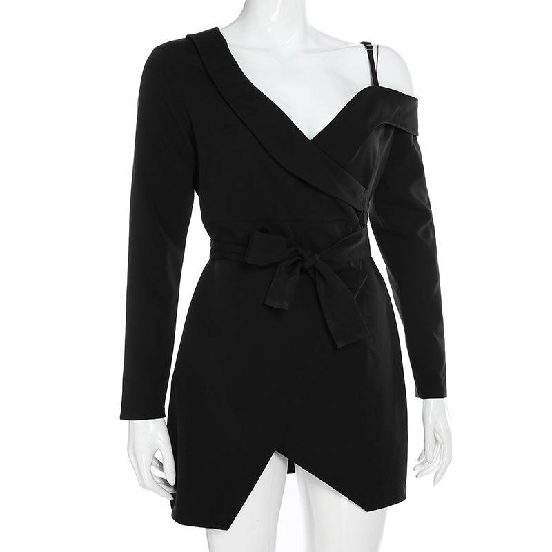 Elegant Asymmetrical Long Sleeve Office Blazer Black Dress 5