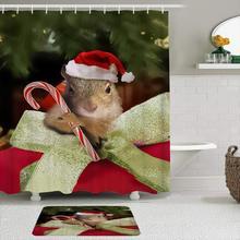 Набор тканевых занавесок и ковриков для душа, Рождественская белка, милые конфетные трости, водонепроницаемые занавески для ванной с 12 крюч...