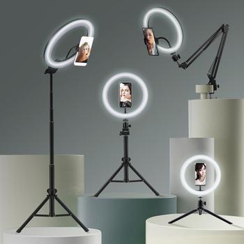 Selfie lampa pierścieniowa oświetlenie fotograficzne led obręcz lampy z uchwyt na telefon duży stojak trójnóg dla tik Youtube tiktok tok ringlight tanie i dobre opinie eken CN (pochodzenie) Bi-color 3200 K-5600 K