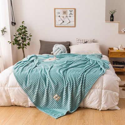 침대에 대한 DIDIHOU 담요 침대에 노란색 색상 부드러운 따뜻한 플란넬 담요 광장 두께 담요를 던져