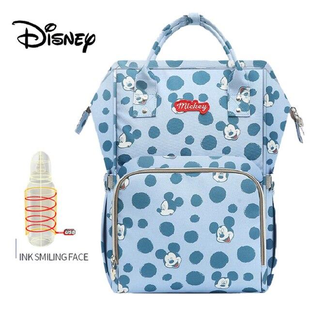 Disney Baby Luiertassen USB Verwarming waterdichte Moederschap Nappy Luier Wandelwagen Zak Isolatie Grote Capaciteit Mochila Rugzak 1