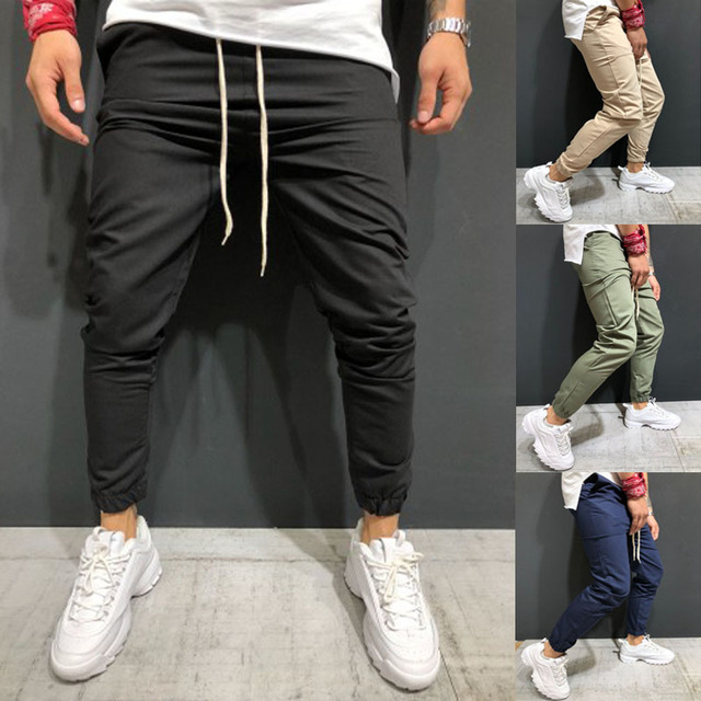 Men Pants 2019 New Men's Woven Fabric for Casual Jogging Trousers with Ankle Girdle
