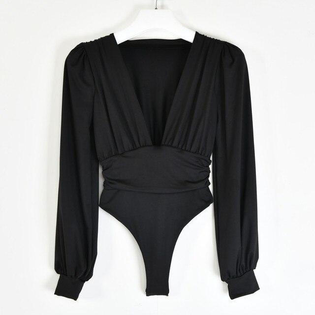 Articat-Body negro con escote en V profundo para mujer, Body Sexy de manga abombada, Body liso elástico informal para fiesta de invierno, bodys, Tops 5
