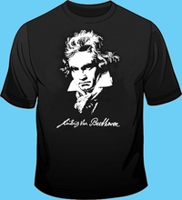 Long  Short Sleeve Black T Shirt Music Composer Beethoven Cotton
