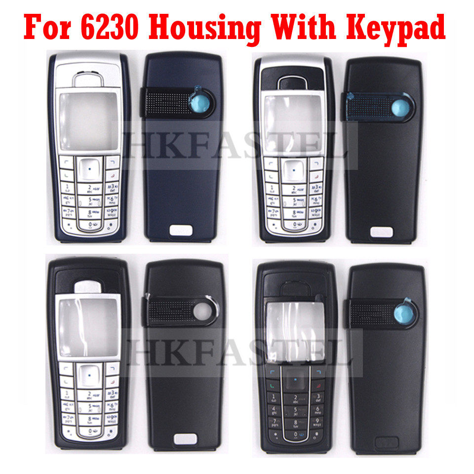 For Nokia 6230 5A High Quality New Full Complete Mobile Phone Housing Cover Case With Keypad Dark Blue , Black , All Black