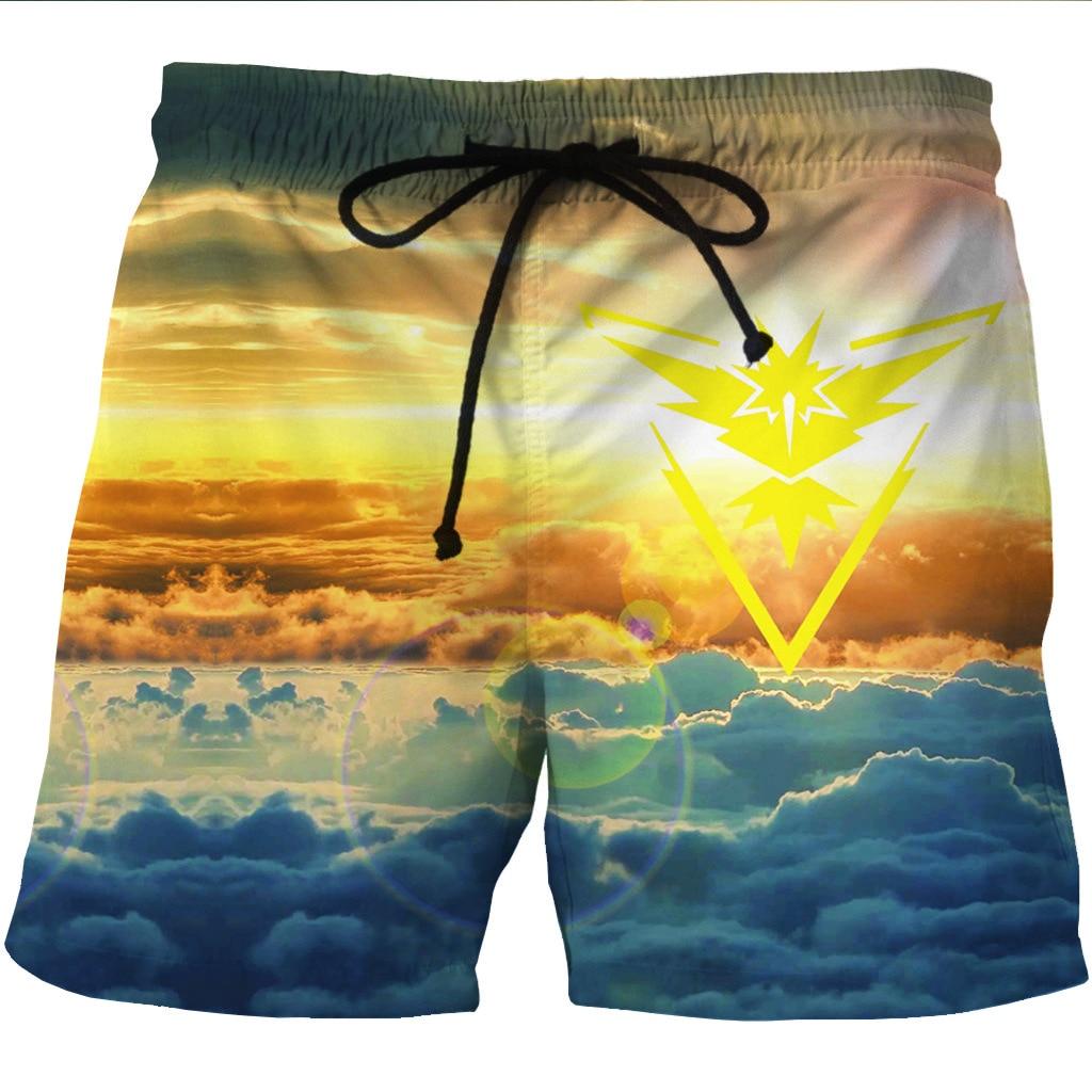 Новые мужские быстросохнущие пляжные шорты с 3D принтом голубого неба повседневные шорты с боковыми карманами