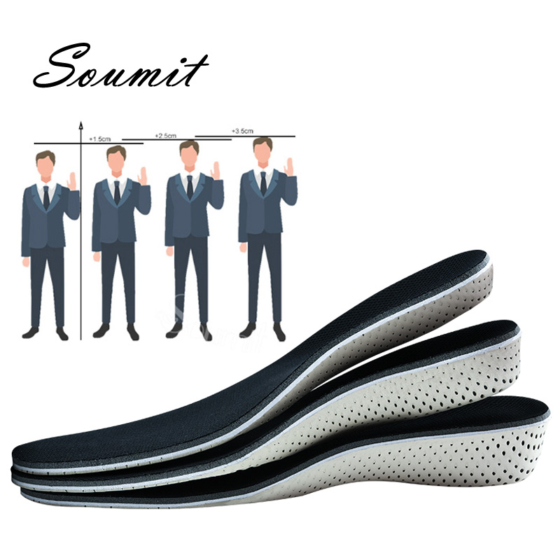 Soumit Height Increase Insoles For Men Women Memory Foam EVA Shoes Pad Comfortable Lift Elevator Taller Shoe Sole Heel Inserts