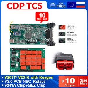 Image 1 - 10PCS CDP TCS Double Green V3.0 NEC board Bluetooth 2015.R3 software OBD II scanner cars trucks OBD2 diagnostic tool
