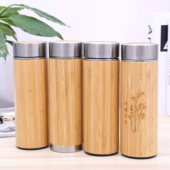 Natural Bamboo Tumbler 350ml 450ml Stainless Steel Liner Thermos Bottle Vacuum Flasks Insulated Bottles Bamboo Cup For Tea 1