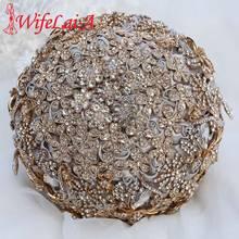 WifeLai-корейская Роскошная невеста, держащая цветы ручной работы, золотые бриллиантовые свадебные цветы, свадебные букеты, Серебряный букет W889