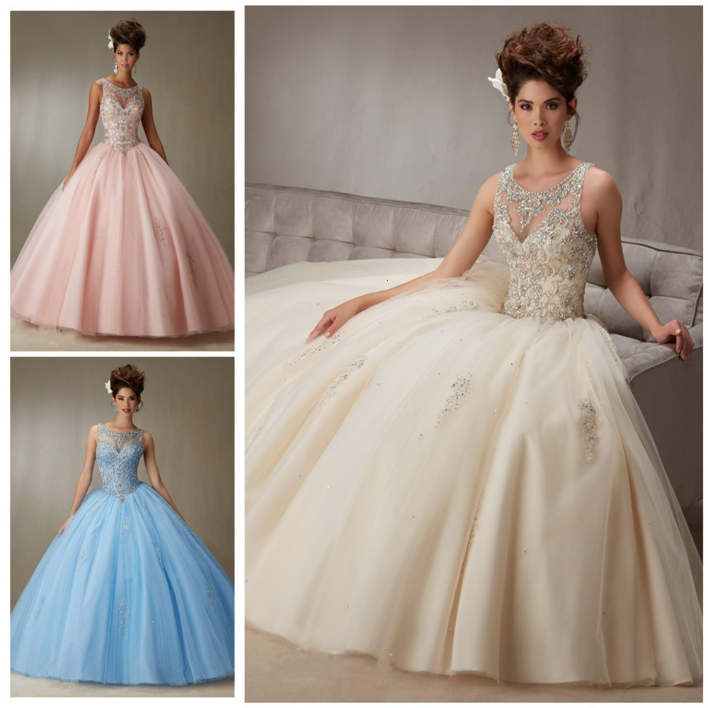 Hot <font><b>Sexy</b></font> Sky Blue Pink Ball Gown Quinceanera Dress Beaded Backless Style <font><b>Girls</b></font> Sweet <font><b>16</b></font> Prom Gowns For 15 <font><b>years</b></font> Vestidos De image