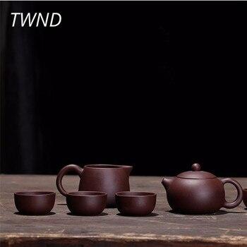 Purple clay xi shi tea pot cups set kung fu yixing kettle mugs teaware 1 pot 6 cups 1 tea sea tea sets drinkware