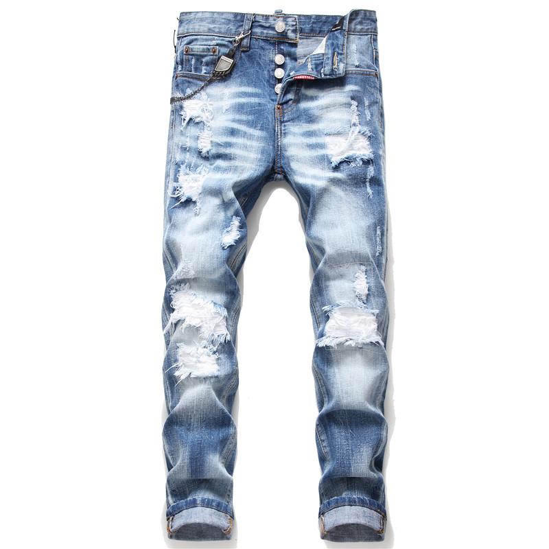 New Skinny Jeans Men Elastic Ripped Jeans For Men Light Blue Embroidery Trousers Clothes Streetwear Spring Autumn Hip Hop