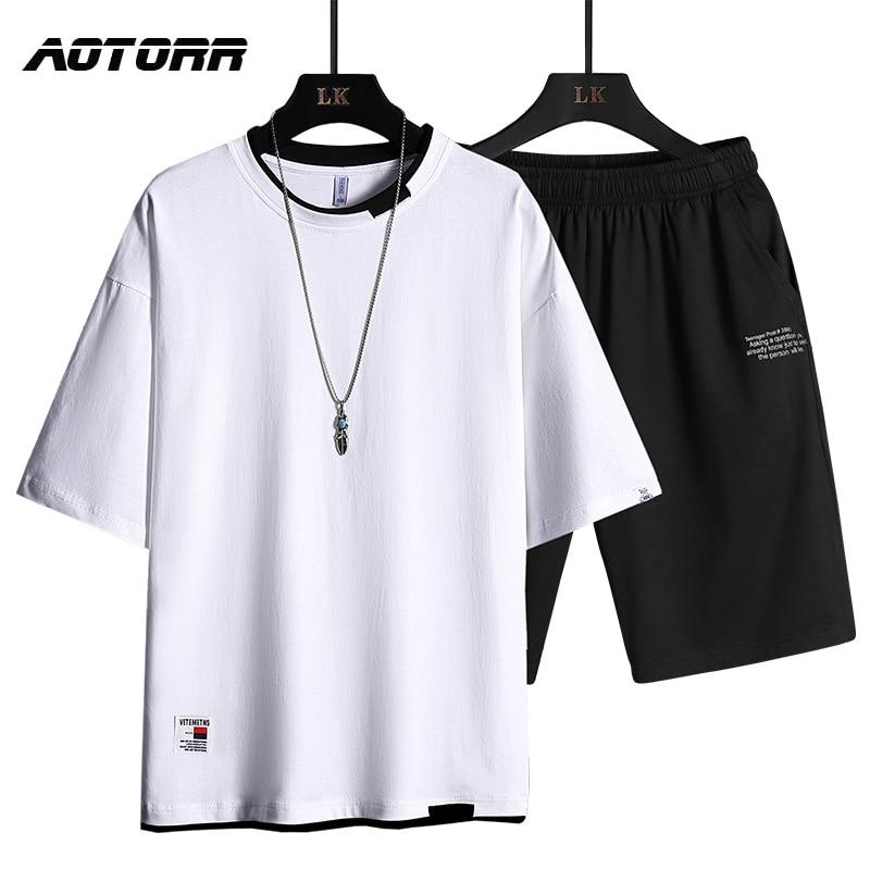 2PCS Sets Sommer Trainingsanzug Männer Casual Kurzarm T-shirt + Shorts Sportswear herren Einfarbig Jogger Trainingsanzug Set streetwear