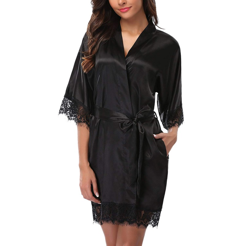 Women Nightdress Robes Sexy Lace-up Stitching Spandex Half Sleeve Lace Dressing Night Gown Women Solid Nightdress Robe