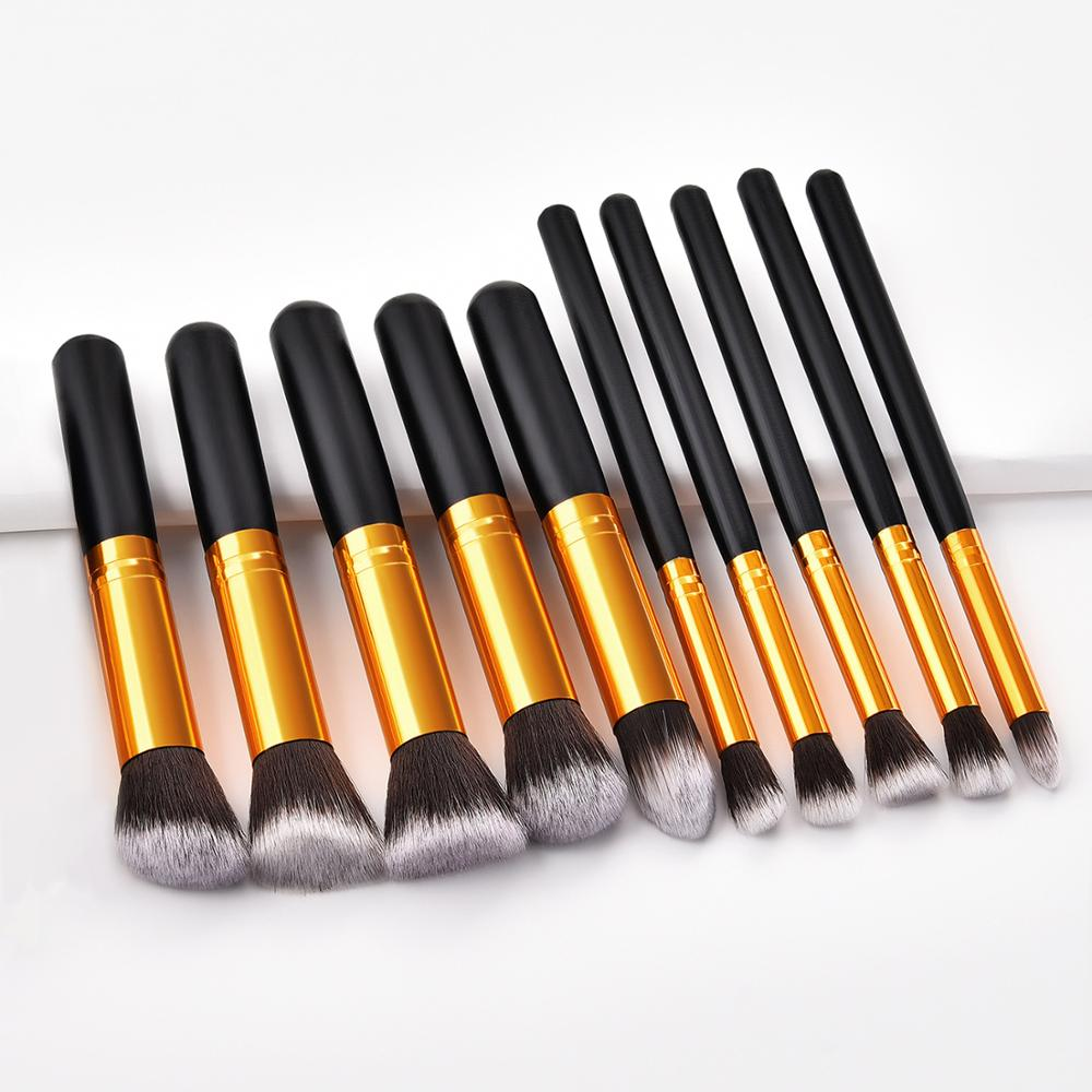 10PCS WOOL Makeup Brush Set Make Up Beauty Blush Foundation Blending Powder Cosmetics EyeShadow Eye Lips Make Up Maquiagem New