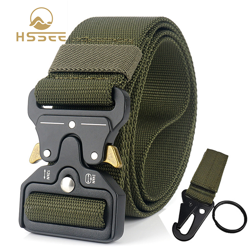 HSSEE 4.5cm Heavy Men's Military Tactical Belt + Standard Nylon Tactical Buckle 125cm Adjustable Real Nylon Army Belt Hard Metal
