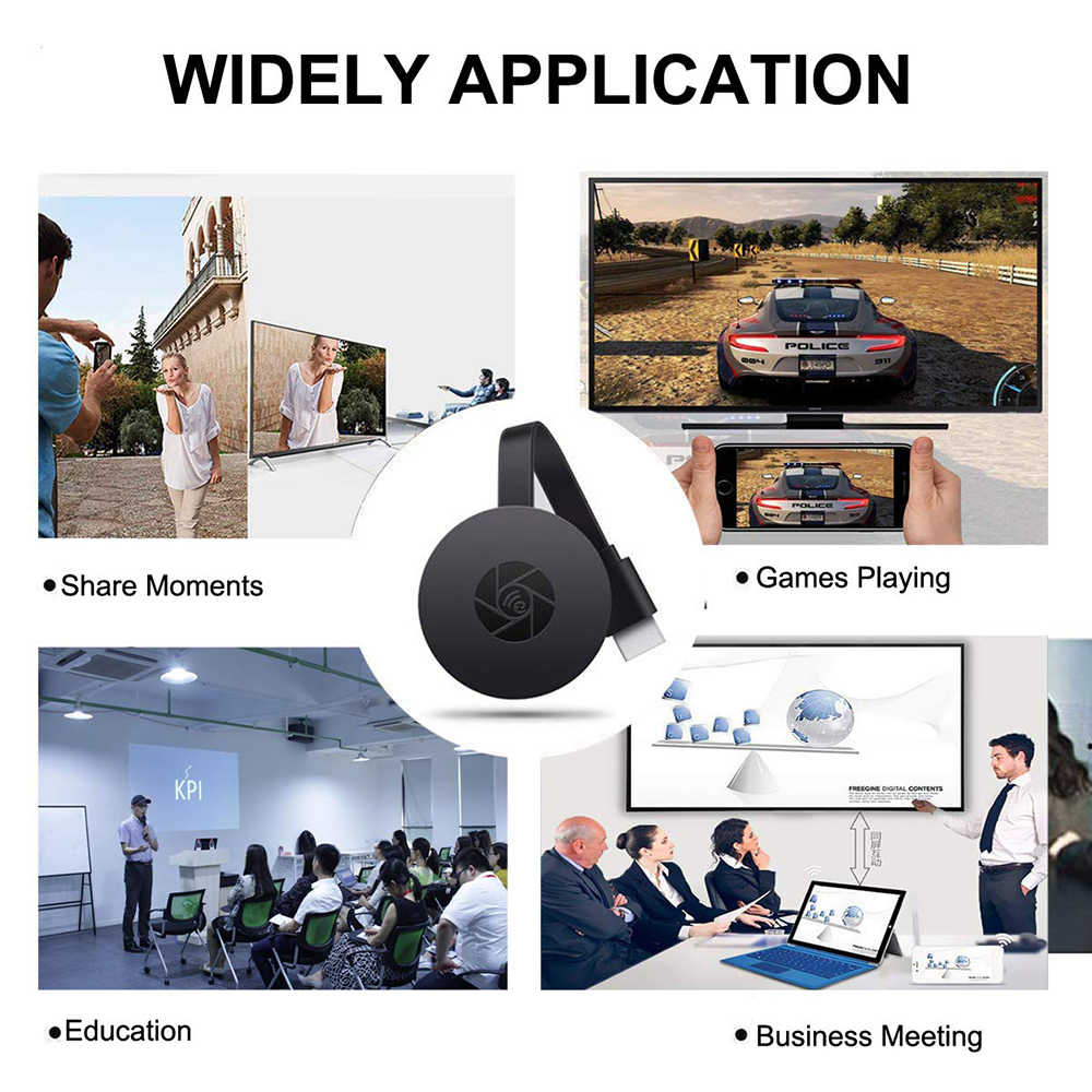HDMI Dongle Nirkabel Wifi Display Receiver TV Stick Miracast Airplay untuk Google Chromecast 2 untuk IOS Android Tidak untuk Netflix