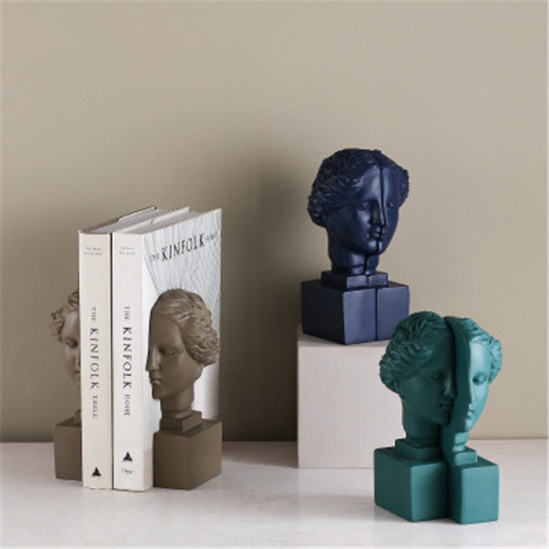 Nordic Style Roman Mythology Goddess Venus Head Portraits Resin Bookends Creative Office Desktop Decoration Book End X2646