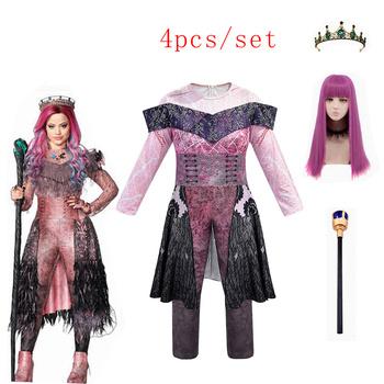 Różowy Audrey kostiumy dziewczyna Halloween kostiumy dla dzieci Party kobiety kostium evie potomkowie 3 Mal strój baśniowy typu cosplay tanie i dobre opinie ELMAGE Zestawy Film i TELEWIZJA Dziewczyny Other Kombinezony i pajacyki Descendants 3 Poliester