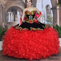 Black and Red Sweet 16 Quinceanera Dresses with Removable Skirt Sweetheart Flower Appliques Tiered Skirt Masquerade Dress 2020
