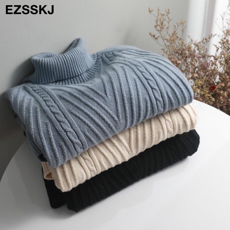 2019 Autumn winter Thick Turtleneck Fishtail sweater dress women basic warm midi sweater dress female 72
