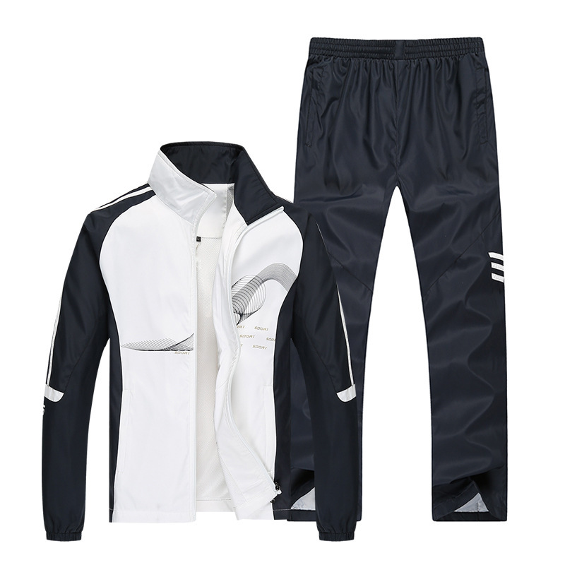 Spring And Autumn Sports Clothing Set Men's Casual Middle-aged Loose-Fit Couples Large Size Outdoor Running Square Clothing Two-