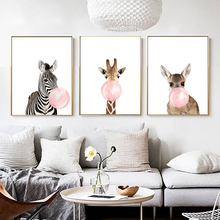 DDWW Cartoon Giraffe Zebra Animal Posters  Prints Canvas Art Painting Wall Art Nursery Picture Nordic Kids Baby Room Home Decor