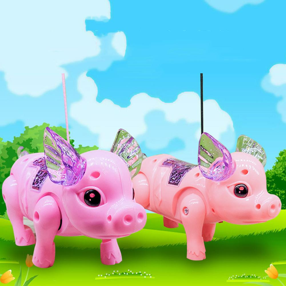 Electric LED Lighting Musical Pig Animal With Leash Walking Toy Kids Xmas Gift Electronics Robot Gift Children Birthday Present