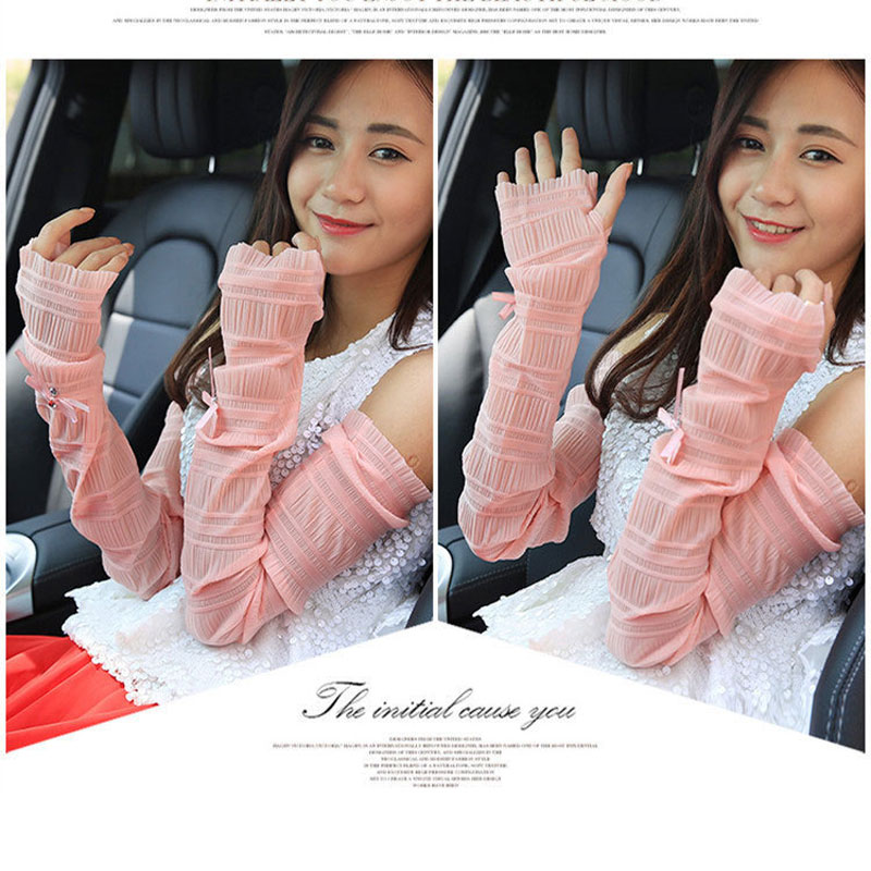Women Crumpled Ice Silk Sun Protection Sleeves For Girls Thin Section Half-Finger Arm Sleeves Solid Color Lace Female Sleeves