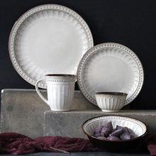 Европейский стиль белая керамическая посуда набор Западный стейк